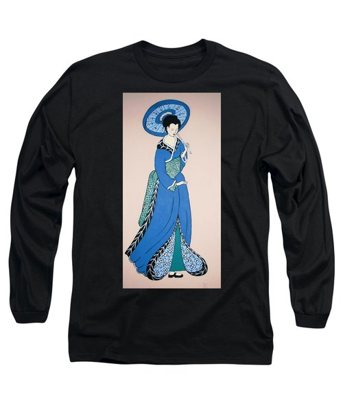 Long Sleeve T-Shirt featuring the painting Geisha With Parasol by Stephanie Moore
