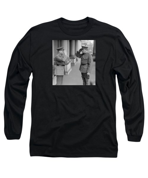 General John Pershing Saluting Babe Ruth Long Sleeve T-Shirt by War Is Hell Store