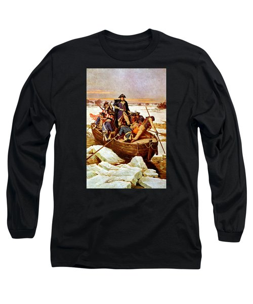 General Washington Crossing The Delaware River Long Sleeve T-Shirt