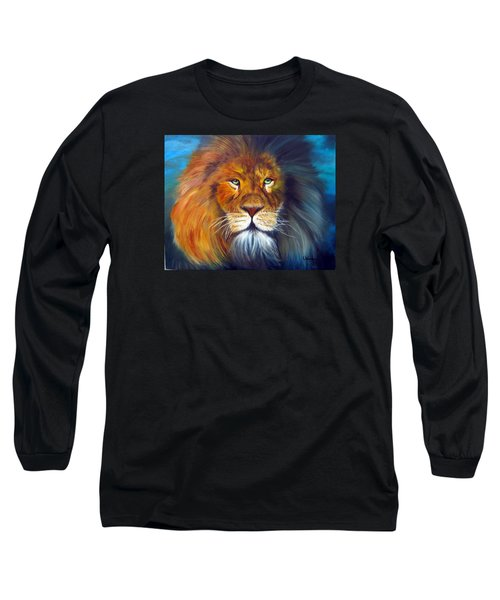 Long Sleeve T-Shirt featuring the painting Gentle Lion King by LaVonne Hand