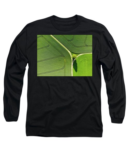 Geometric Landscape 05 Tree And Green Fields Aerial View Long Sleeve T-Shirt