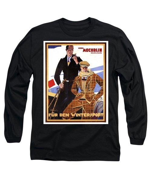 Georg Moehrlin - Ravensburg - Vintage German Fashion Advertising Poster - Wintersport Long Sleeve T-Shirt
