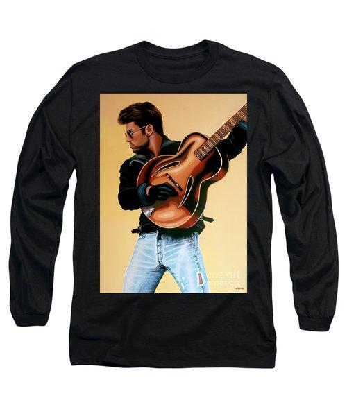 George Michael Painting Long Sleeve T-Shirt by Paul Meijering