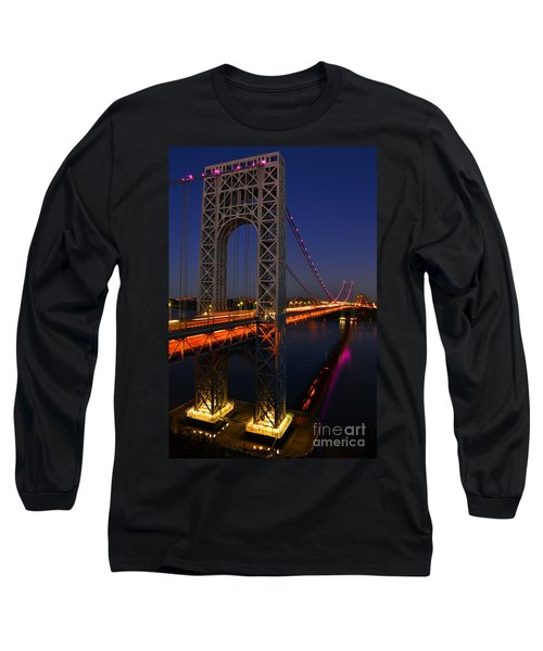 Long Sleeve T-Shirt featuring the photograph George Washington Bridge At Night by Zawhaus Photography