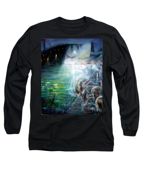 Long Sleeve T-Shirt featuring the painting Ghost Ship 2 by Heather Calderon