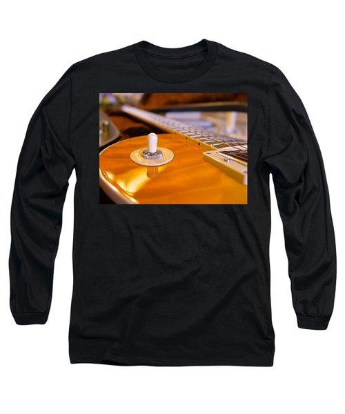 Long Sleeve T-Shirt featuring the digital art Yellow Quilt Guitar Top by Guitar Wacky