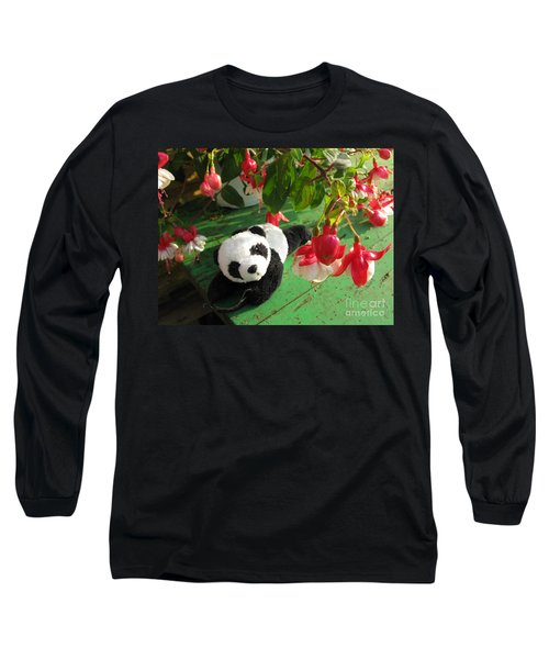 Long Sleeve T-Shirt featuring the photograph Ginny Under The Red And White Fuchsia by Ausra Huntington nee Paulauskaite