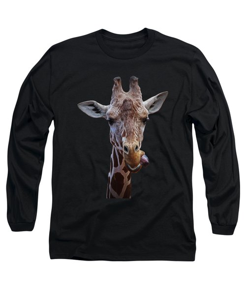 Long Sleeve T-Shirt featuring the digital art Giraffe Face by Ernie Echols