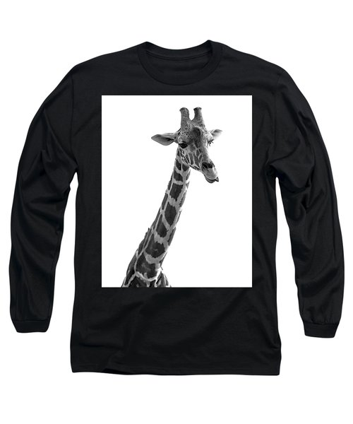 Long Sleeve T-Shirt featuring the photograph Giraffe In Black And White 3 by James Sage