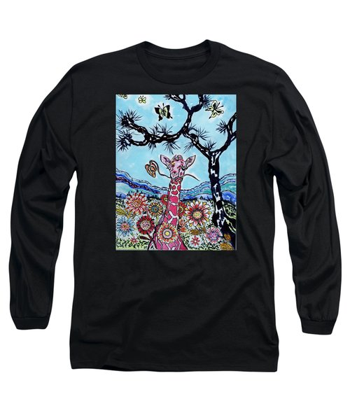Long Sleeve T-Shirt featuring the painting Giraffe In Garden by Connie Valasco