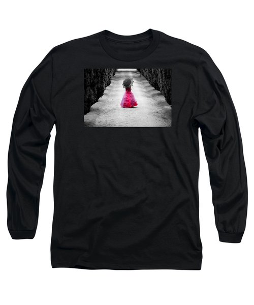 Girl In A Red Dress Long Sleeve T-Shirt by Helen Northcott