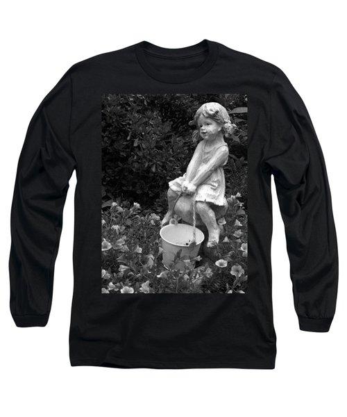 Long Sleeve T-Shirt featuring the photograph Girl On A Mushroom by Sandi OReilly
