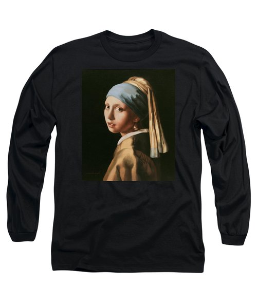 Girl With A Pearl Earring - After Vermeer Long Sleeve T-Shirt