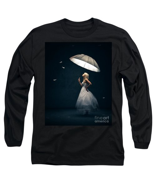 Girl With Umbrella And Falling Feathers Long Sleeve T-Shirt by Johan Swanepoel