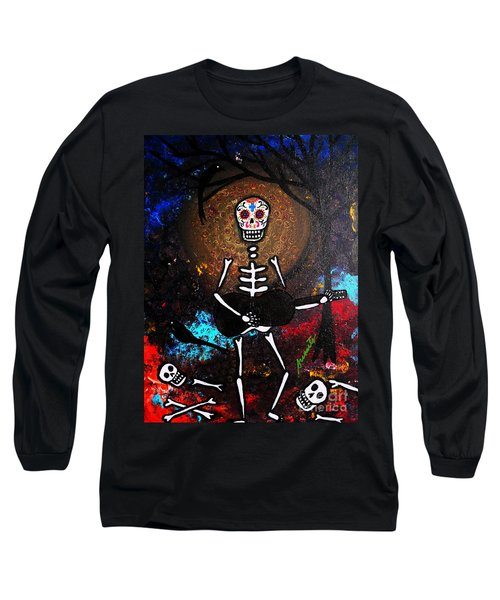 Long Sleeve T-Shirt featuring the painting Gitarero by Pristine Cartera Turkus