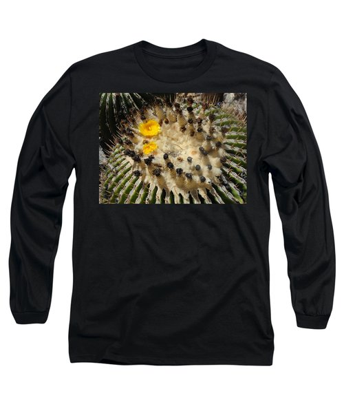 Giving Birth Barrel Cactus Yellow Flowers Long Sleeve T-Shirt
