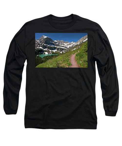 Long Sleeve T-Shirt featuring the photograph Glacier Backcountry Trail by Gary Lengyel