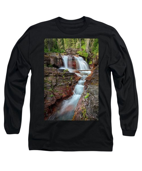 Glacier National Park Waterfall 2 Long Sleeve T-Shirt by Andres Leon