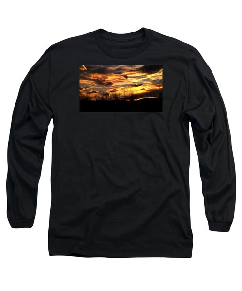Glorious Maine Sunset Long Sleeve T-Shirt by Mike Breau
