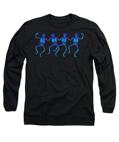 Long Sleeve T-Shirt featuring the digital art Glowing Dancing Skeletons by Jennifer Hotai