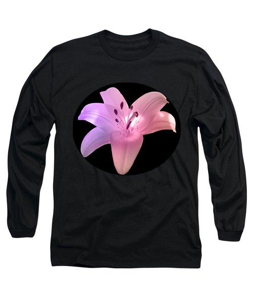Glowing Pink Lily On Black Long Sleeve T-Shirt