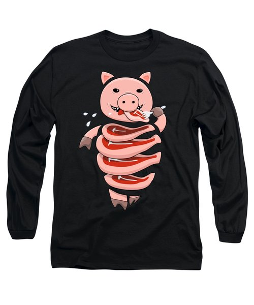 Gluttonous Self-eating Pig Long Sleeve T-Shirt
