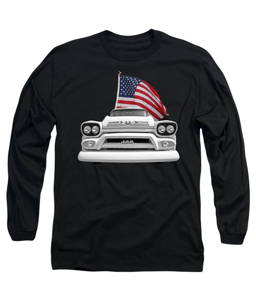 Gmc Pickup With Us Flag Long Sleeve T-Shirt