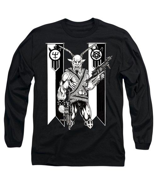 Goat War Black Long Sleeve T-Shirt by Alaric Barca