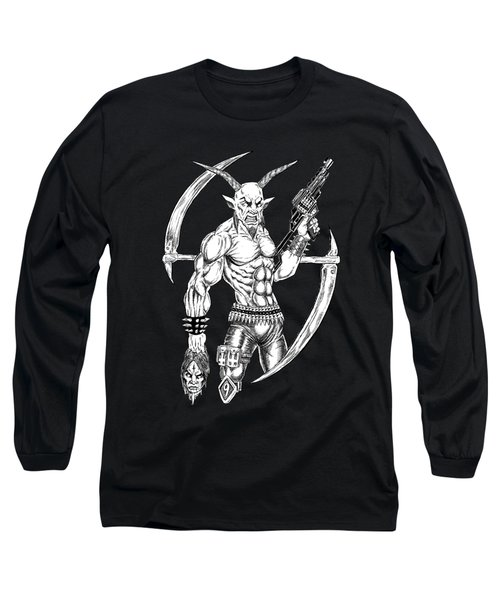 Goatlord Reaper Long Sleeve T-Shirt by Alaric Barca