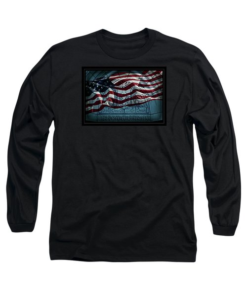 God Country Notre Dame American Flag Long Sleeve T-Shirt by John Stephens