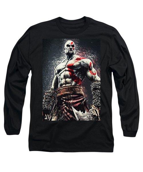 Long Sleeve T-Shirt featuring the digital art God Of War - Kratos by Taylan Apukovska