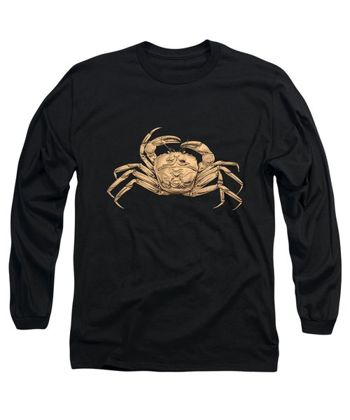 Long Sleeve T-Shirt featuring the digital art Gold Crab On Black Canvas by Serge Averbukh