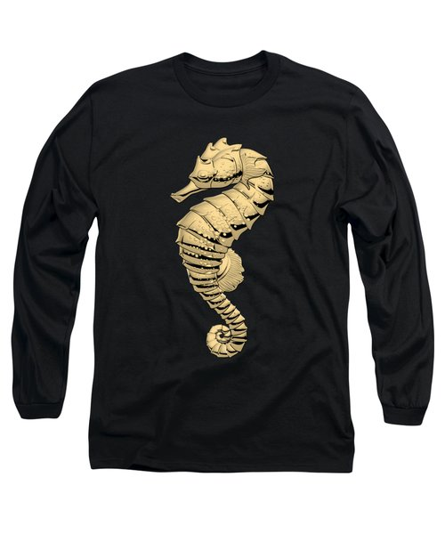 Gold Seahorse On Black Canvas Long Sleeve T-Shirt by Serge Averbukh