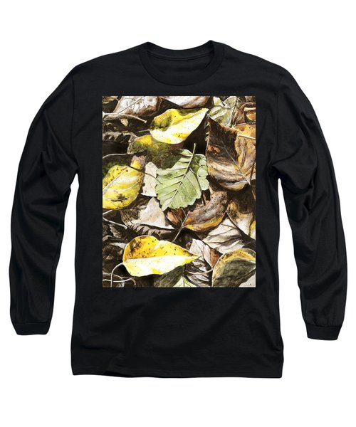Long Sleeve T-Shirt featuring the painting Golden Autumn - Talkeetna Leaves by Karen Whitworth