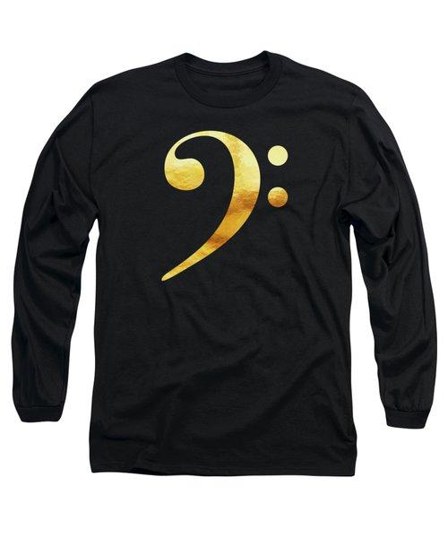 Golden Baseline Beat Bass Clef Music Symbol Long Sleeve T-Shirt