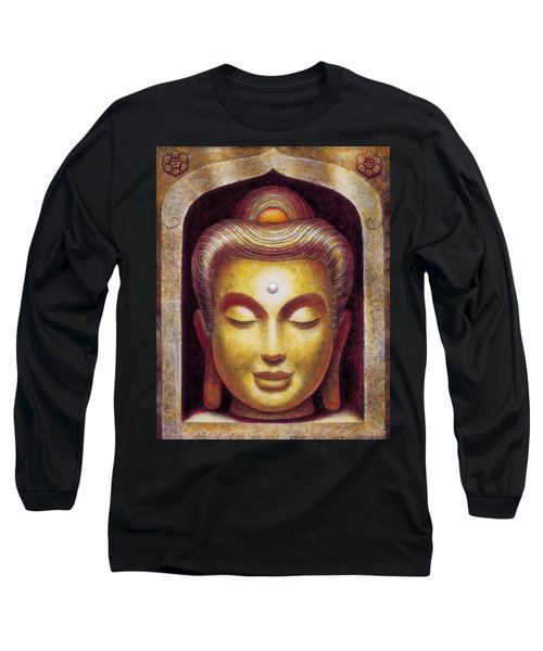 Long Sleeve T-Shirt featuring the painting Golden Buddha by Sue Halstenberg