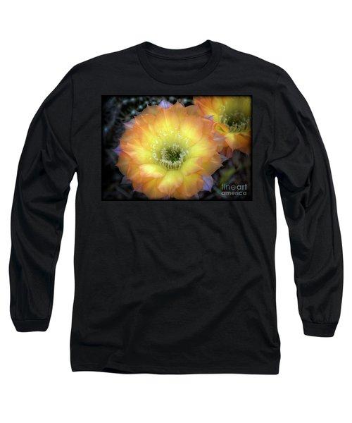 Golden Cactus Bloom Long Sleeve T-Shirt by Saija  Lehtonen