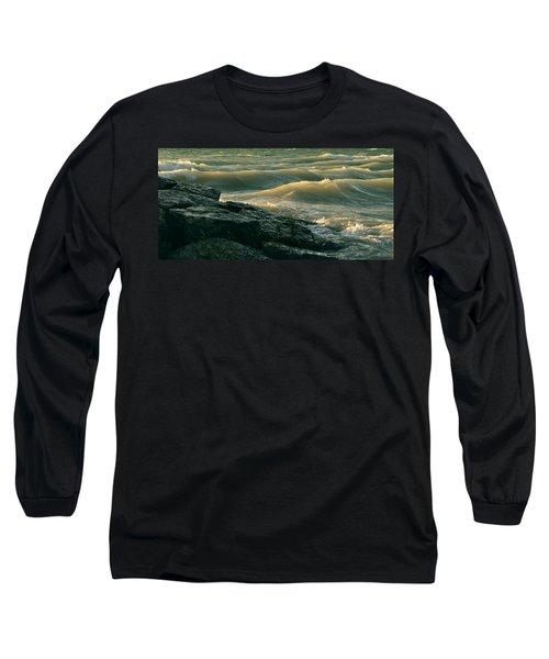 Golden Capped Sunset Waves Of Lake Michigan Long Sleeve T-Shirt