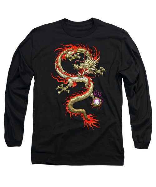 Golden Chinese Dragon Fucanglong On Black Silk Long Sleeve T-Shirt by Serge Averbukh