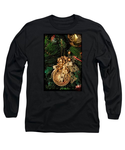 Golden Christmas Ornament Long Sleeve T-Shirt by Isam Awad