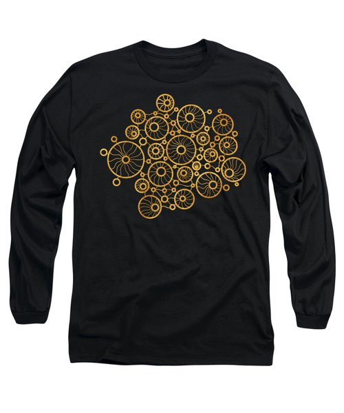 Golden Circles Black Long Sleeve T-Shirt by Frank Tschakert