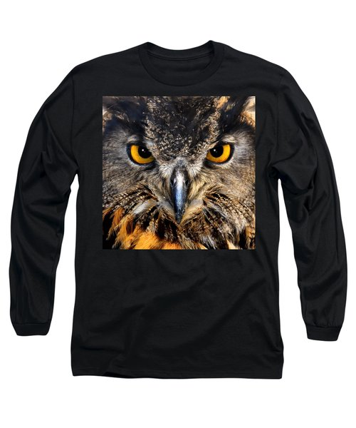 Golden Eyes - Great Horned Owl Long Sleeve T-Shirt