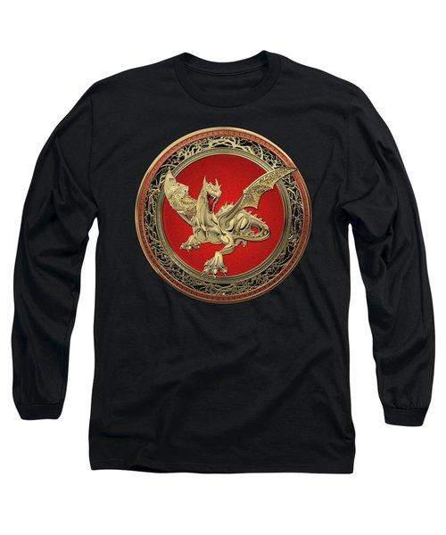 Golden Guardian Dragon Over Black Velvet Long Sleeve T-Shirt by Serge Averbukh