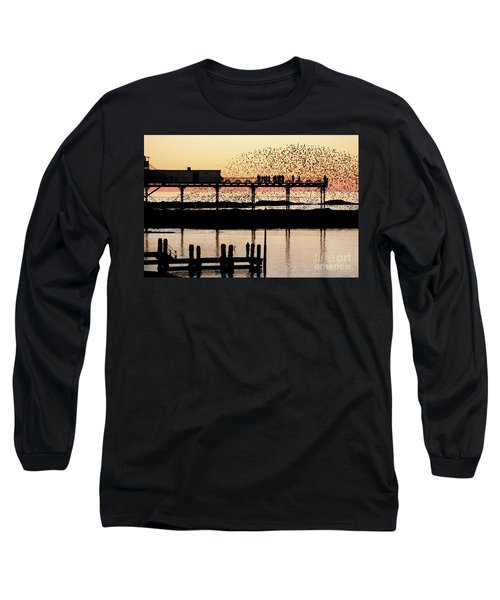 Golden Hour Starlings In Aberystwyth Long Sleeve T-Shirt