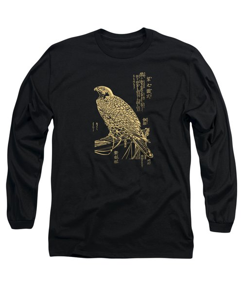Golden Japanese Peregrine Falcon On Black Canvas  Long Sleeve T-Shirt