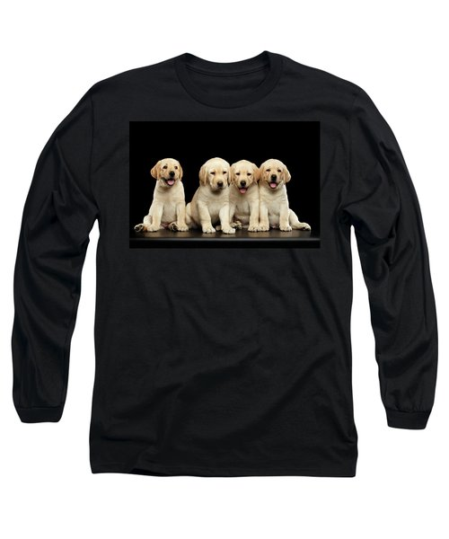 Golden Labrador Retriever Puppies Isolated On Black Background Long Sleeve T-Shirt