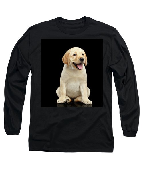 Golden Labrador Retriever Puppy Isolated On Black Background Long Sleeve T-Shirt