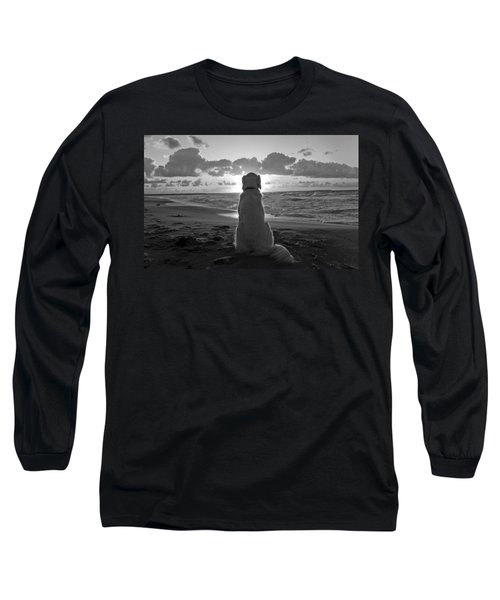 Golden Labrador Watching Sunset Long Sleeve T-Shirt