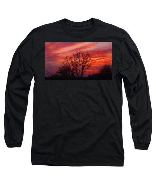 Golden Pink Sunset With Trees Long Sleeve T-Shirt