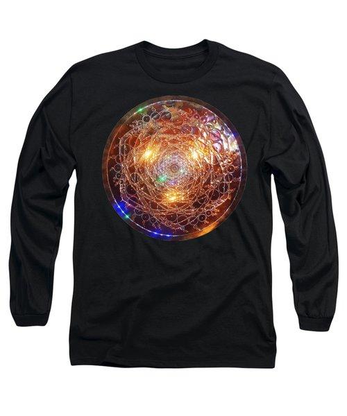 Long Sleeve T-Shirt featuring the sculpture Golden Spiral Copper Lightmandala by Robert Thalmeier